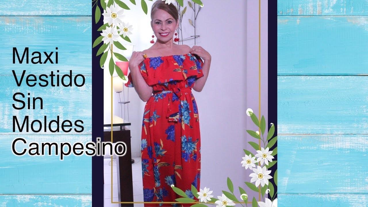 b4c93188ad3 Omaira tv- DIY Maxi Vestido sin Moldes Campesino - Maxi dress without molds  Peasant