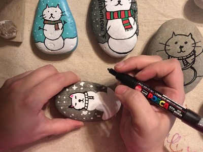 Painted Rock Snowman Cat Tutorial Made With Paint Pens.