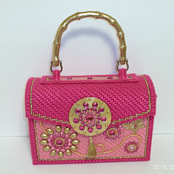 Pink and Gold Jeweled Handbag/Purse