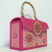 Pink and Gold Jeweled Handbag/Purse