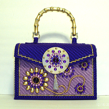 Purple and Gold Jeweled Handbag