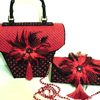 Red and Black Handbag and Clutch Set
