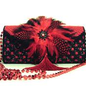 Red and Black Handbag and Clutch Set
