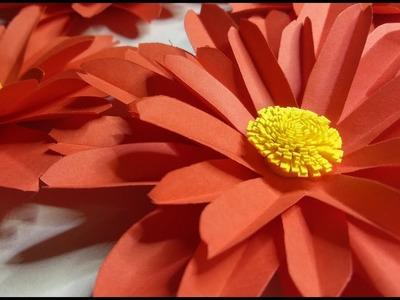 RED DAISY PAPER FLOWER Tutorial