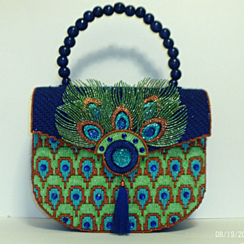 Royal Blue and Green Jeweled Peacock Handbag