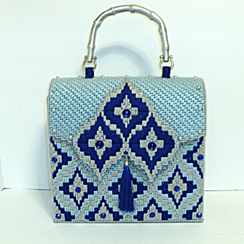 Royal blue and Sliver Jeweled Handbag