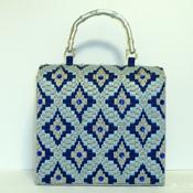 Royal blue and Sliver Jeweled Handbag