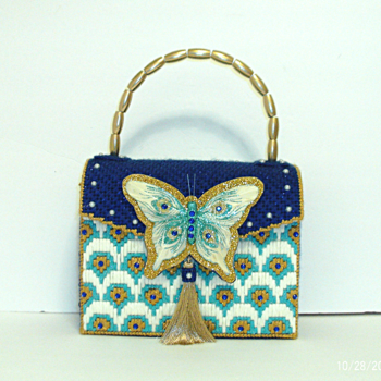 Royal Blue and Turquoise Butterfly Handbag
