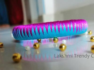 Silk Thread Bangles Making Tutorial - Zigzag Design