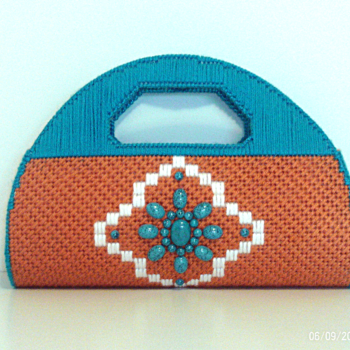 Terra-Cotta,Turquoise and White Clutch/Purse