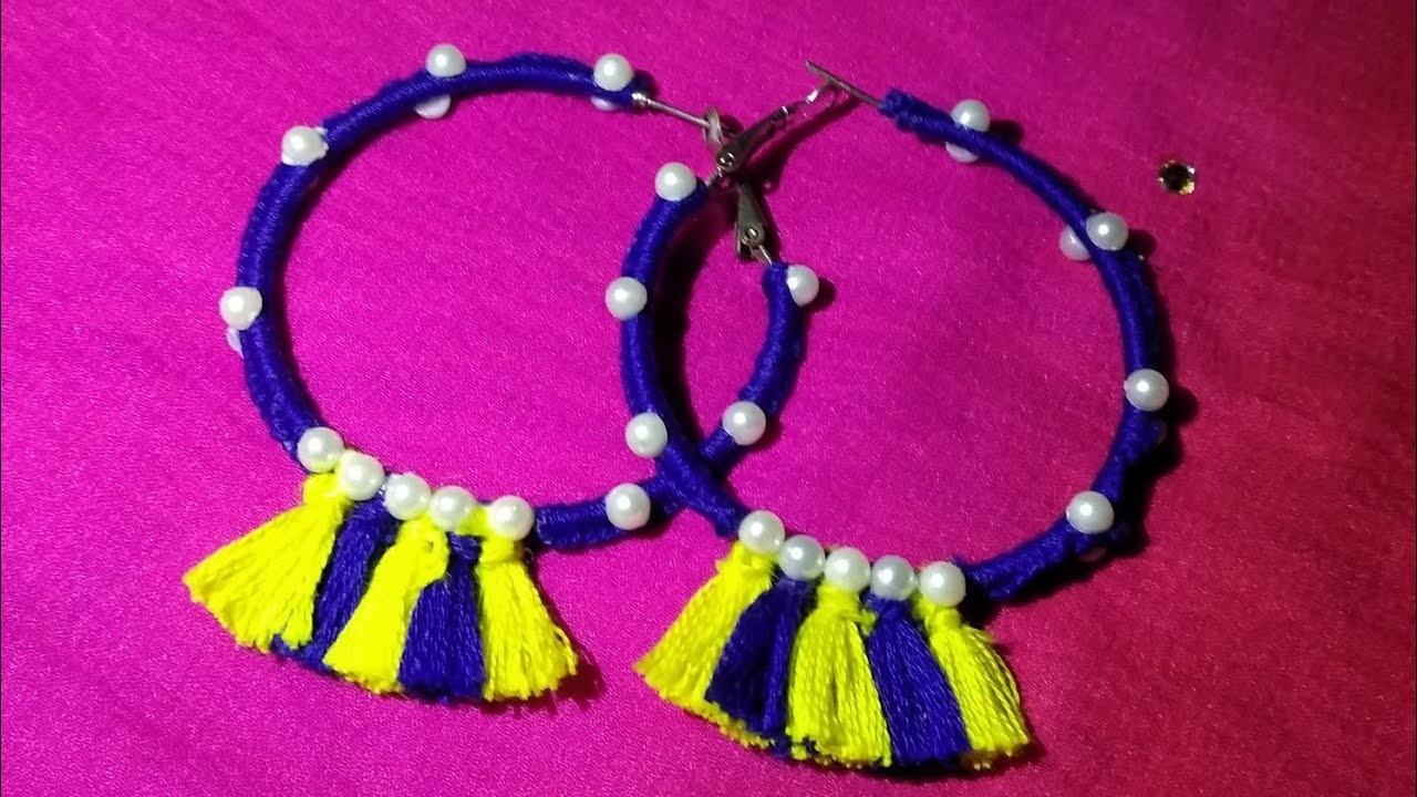 Thread Tassel Ear Ring With Weast Material Handcraft Jewellery