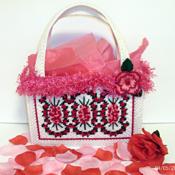 White  and Red Rose Handbag