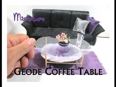 DIY Dollhouse Miniature Modern Glam Amethyst Geode Coffee Table