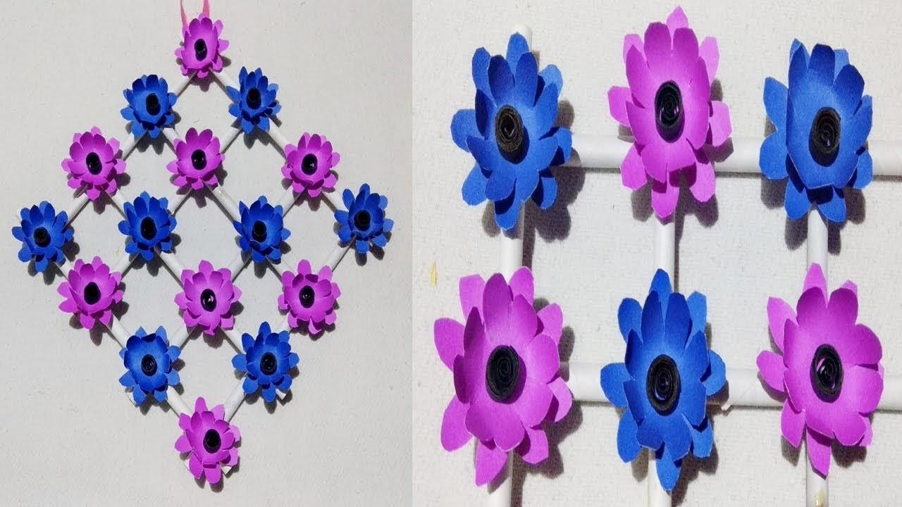 DIY: paper flower wall hanging, Wall Decoration| diy art ...