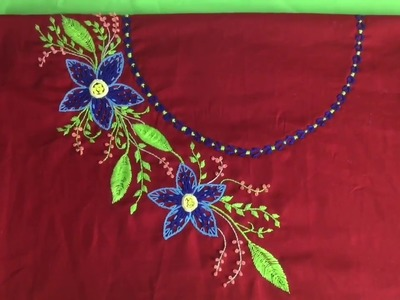 Hand embroidery easy stitch Neckline Net stitch embroidery design