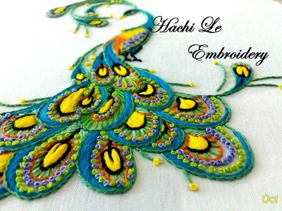 Hand Embroidery Tutorial for Beginners   How to Embroider Peacock  Cách thêu con công
