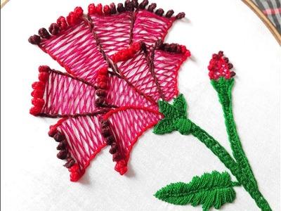 Herrinbone stitch flower design   Hand embroidery designs