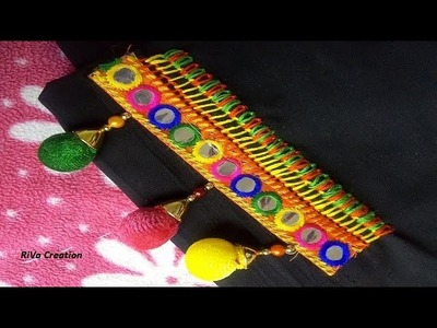 How to Attach Mirror Lace using Hand Stitch| Hand Embroidery Stitches(Gujarati)