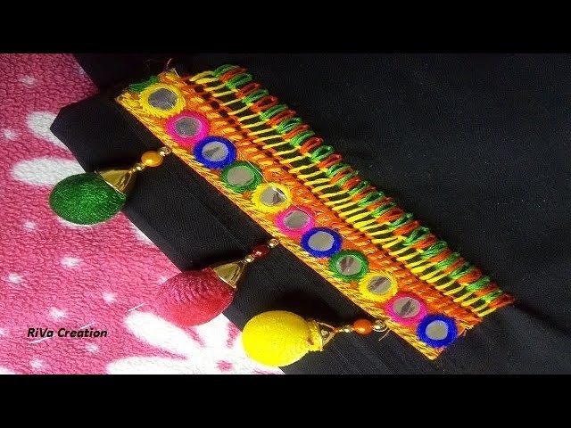How to Attach Mirror Lace using Hand Stitch  Hand Embroidery Stitches(Gujarati)
