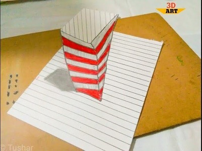Draw, How to draw 3d Illusion on line paper - Drawing big