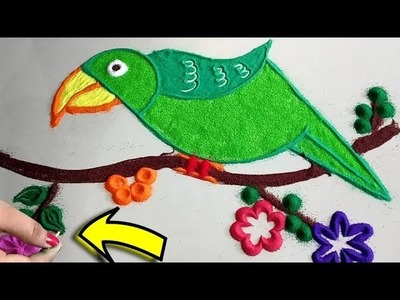 Latest Easy and Beautiful attractive Parrot Rangoli Designs ||  DIY RANGOLI FOR BEGINNERS