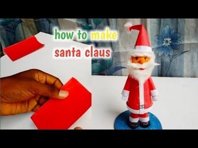 Making santa claus with paper, making of santa claus easy, making santa claus with waste materials