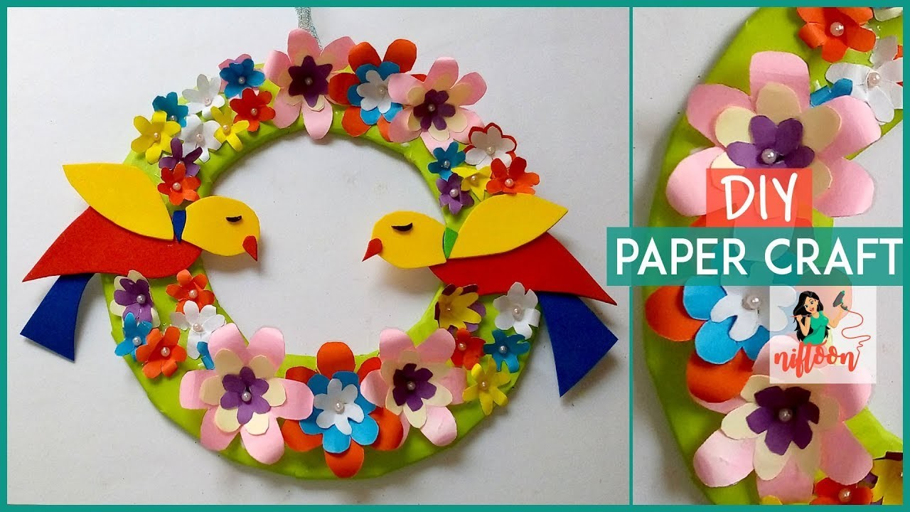 how to make paper flower wall hanging