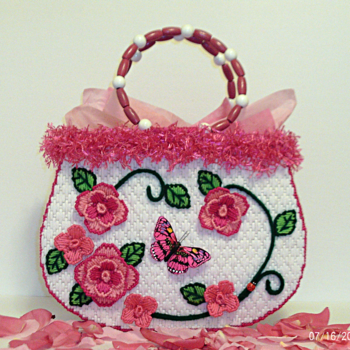 Pink and White Rose Handbag/Tote bag