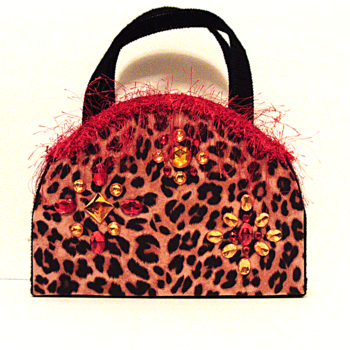 Red and Black Leopard print Handbag