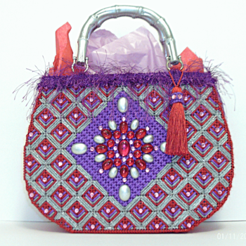 Red Purple and Sliver Jeweled Tote bag/Handbag