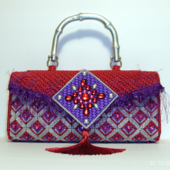 Red,Purple and Sliver Clutch/Purse
