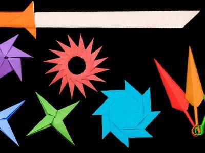 06 Easy #Origami Paper Ninja StarSwordKnife - How to Make Step by Step
