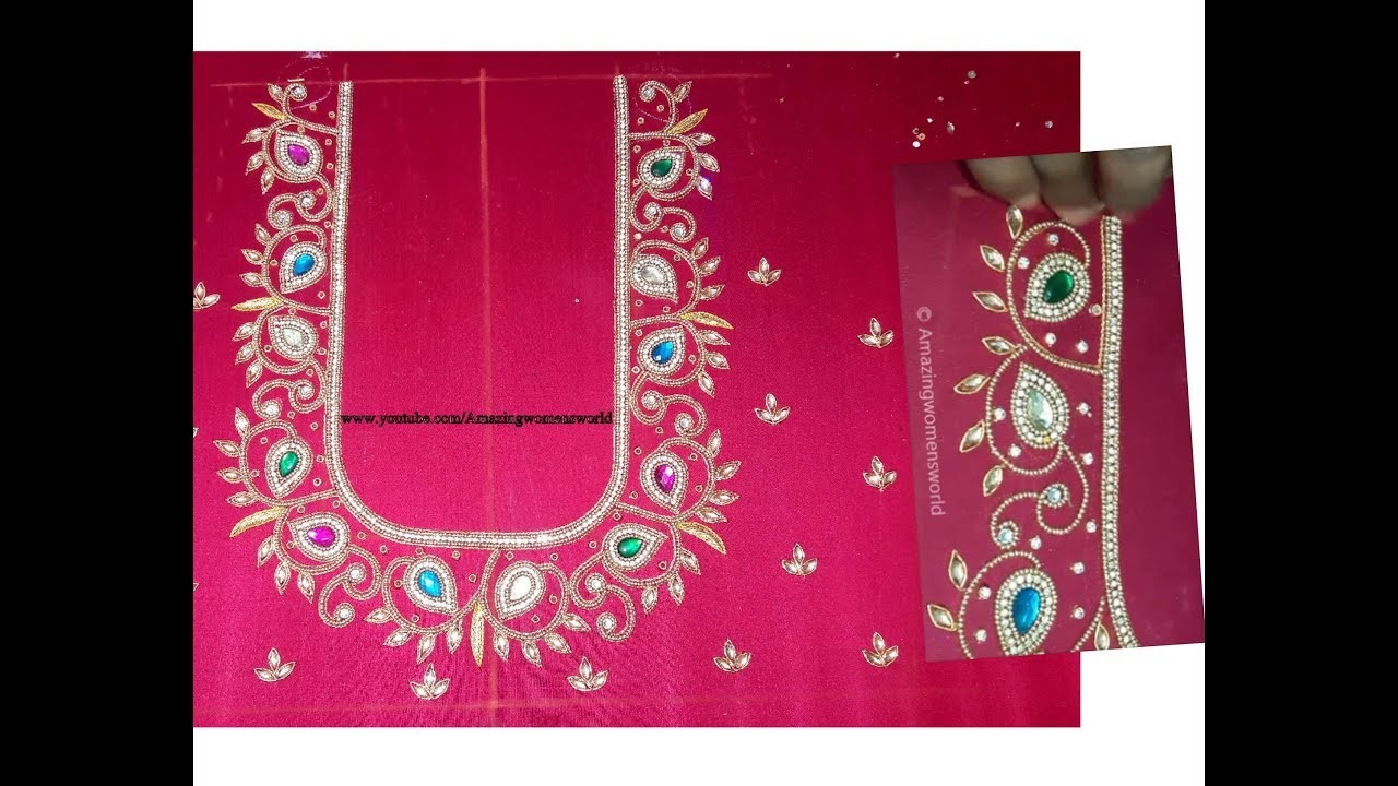 bbe5dd1cb9f3bf Maggam Work Designer Blouse. Hand Embroidery- Very Simple & Easy- Bridal. Party  Wear