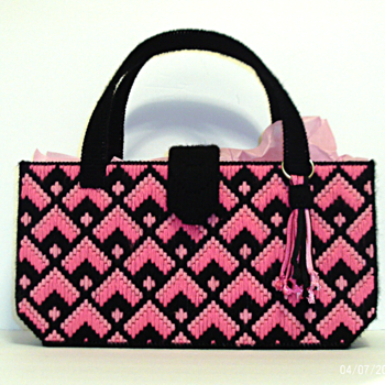 Black and Pink Bargello Handbag