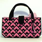 Black and Pink Bargello Handbag