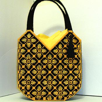 Black and Yellow Bargello Tote Bag/Handbag