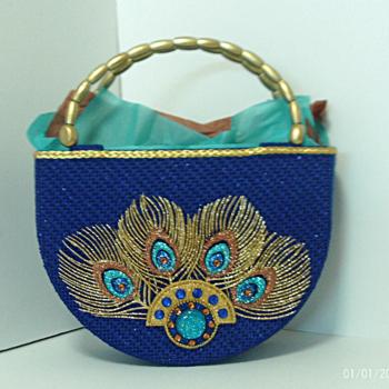 Exotic Royal Blue and Gold Peacock Handbag