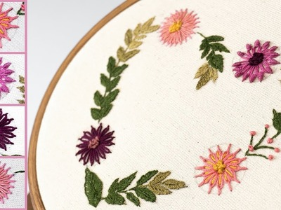 EXTREMELY EASY Hand Embroidery Stitches   Detached Chain Stitch   Lazy Daisy Stitch