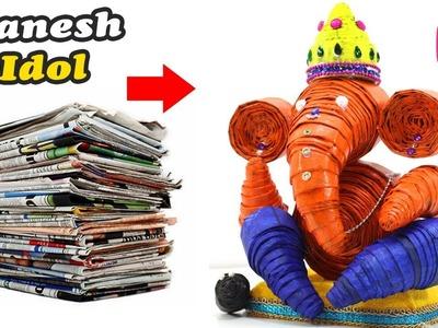 GANESH Idol Making from NEWSPAPER | Easy Ganesha Making at Home