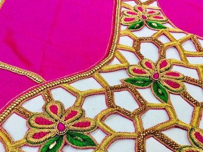 Hand embroidery in bridal blouse