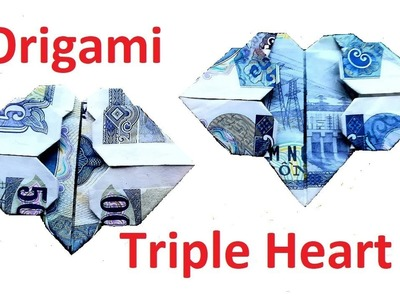How to make triple note heart origami. Xếp trái tim bằng tiền