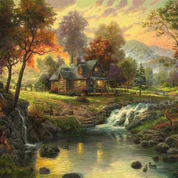 Kinkade Mountain Retreat Cross Stitch Pattern***LOOK***