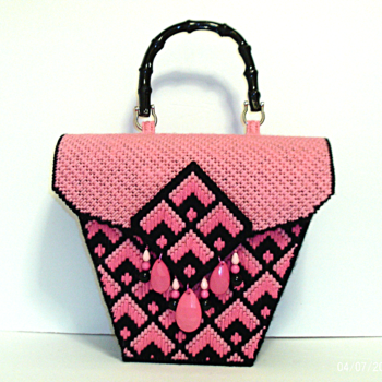 Pink and Black Bargello Handbag/Purse