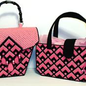 Pink and Black Bargello Handbag/Purse