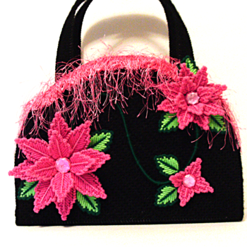 Pink and Black Poinsettia Handbag