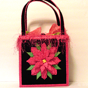 Pink and Black Poinsettia Tote bag
