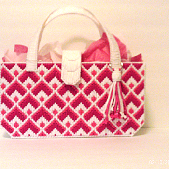 Pink and White Bargello Handbag
