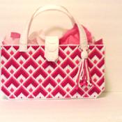 Pink and White Bargello Handbag