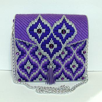 Purple and Sliver Bargello Handbag