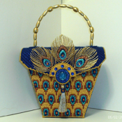Unique and Exotic Royal Blue and Gold Peacock Handbag